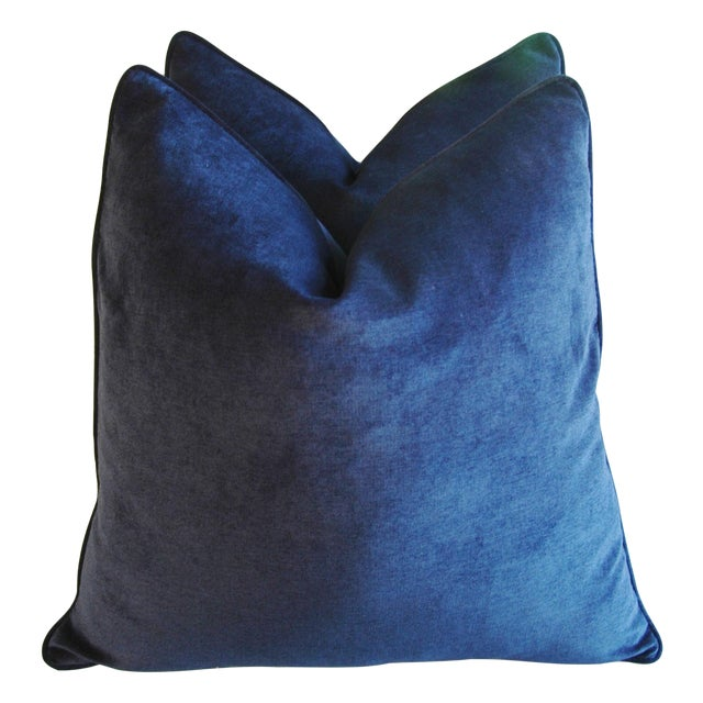 Midnight Blue Velvet Feather/Down Pillows - Pair - Image 1 of 9