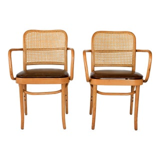 Bentwood and Cane Chairs - a Pair For Sale
