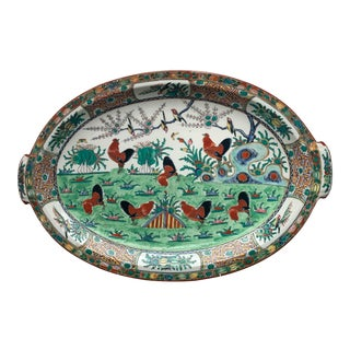 19th Century Chinese Export Hand Painted Serving Platter For Sale