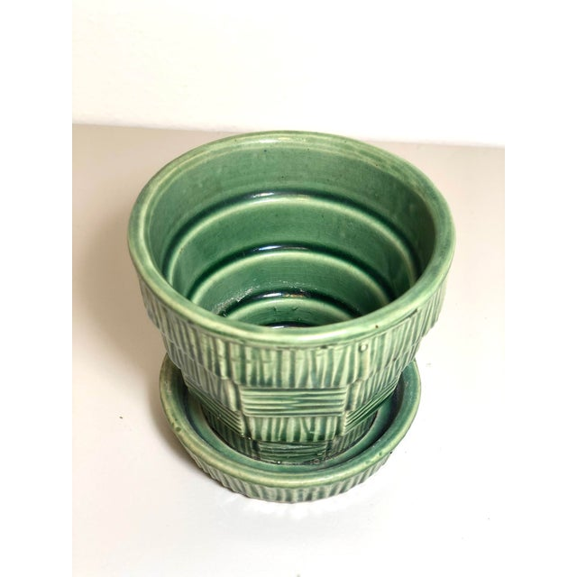 """McCoy Pottery 1940s - 1960s """"Green"""" Mid Century Flowerpot And Attached Saucer Bark Basket Weave Design, Extra Small, Green..."""