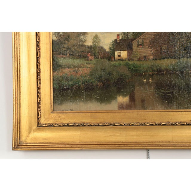 Henry Pember Smith Landscape Painting of Cottage by Lake For Sale - Image 4 of 11