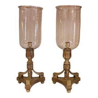 English Blown Glass and Faux Painted Hurricanes -Pair For Sale