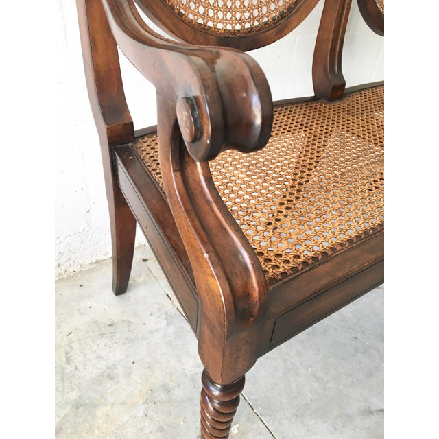 Wood Theodore Alexander Acacia and Cane Bench For Sale - Image 7 of 13