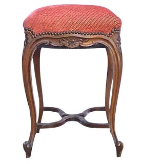 Antique French Carved & Upholstered High Stool For Sale