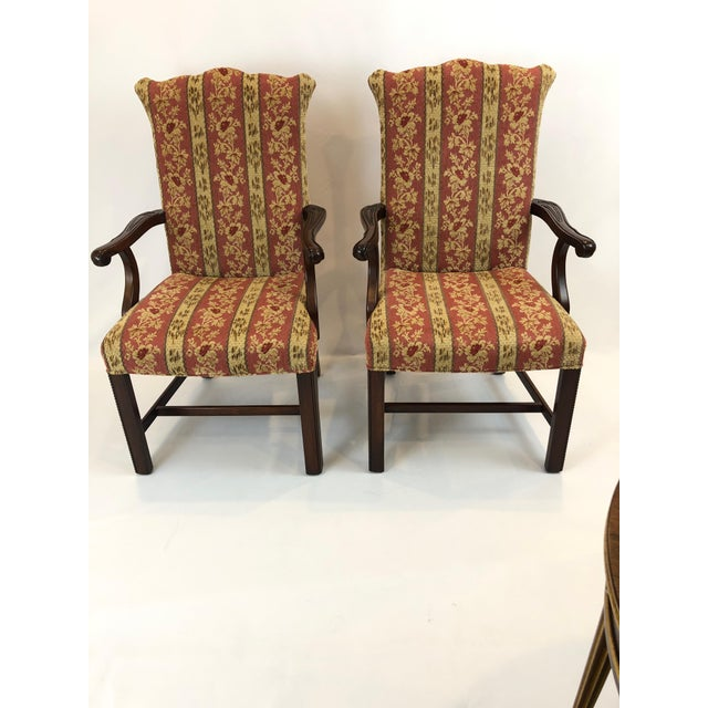 Carved Mahogany and Chenille Upholstered Armchairs - a Pair For Sale - Image 13 of 13