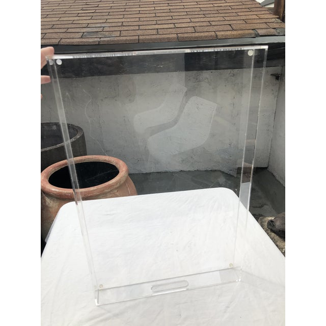 Large Lucite Tray With Cutout Handles For Sale In Atlanta - Image 6 of 12