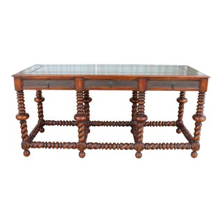 1940s Theodore Alexander Mahogany and Brass Accent Console Table For Sale