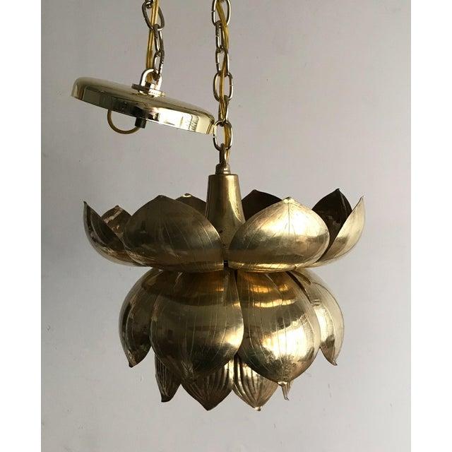 Feldman Lighting 1970s Brass Lotus Blossom Chandelier Pendant For Sale - Image 4 of 5