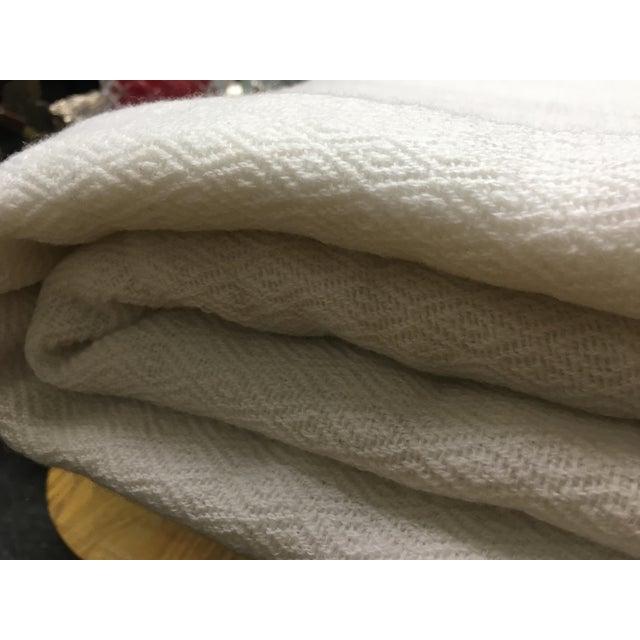 White Tassel Cashmere Blend Blanket - Image 4 of 11