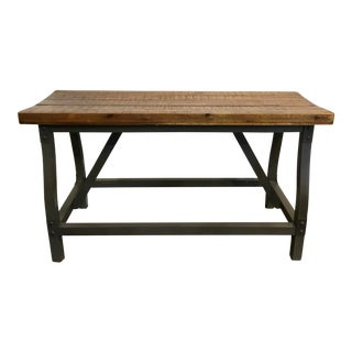 Industrial Modern Wood and Iron Gathering Bench For Sale