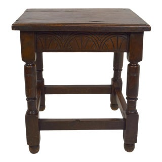 Early 1900s English Oak Joined Stool For Sale