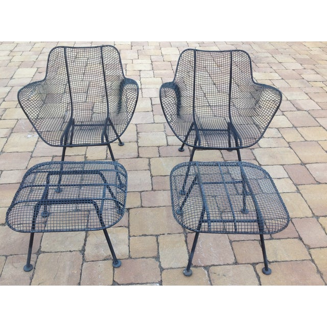 Russell Woodard Wire Chairs & Ottoman - Pair - Image 5 of 6
