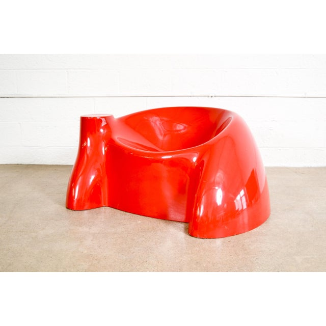 Mid Century Wendell Castle Red Fiberglass Lounge Chair For Sale - Image 11 of 11