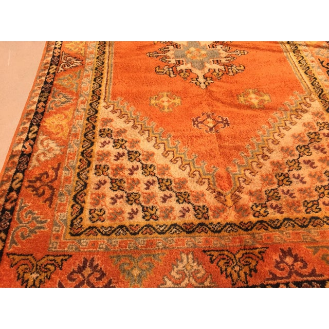 Textile Vintage Mid Century Moroccan Orange Tribal African Pile Rug- 6′7″ × 16′5″ For Sale - Image 7 of 12