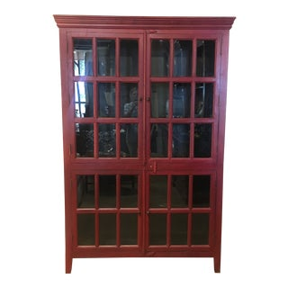 20th Century Arts and CraftsPainted Red Wall Cabinet With Glass Doors For Sale