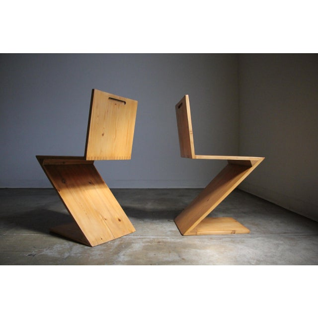Modern Vintage Gerrit Rietveld Style Zig Zag Chairs - a Pair For Sale - Image 3 of 13