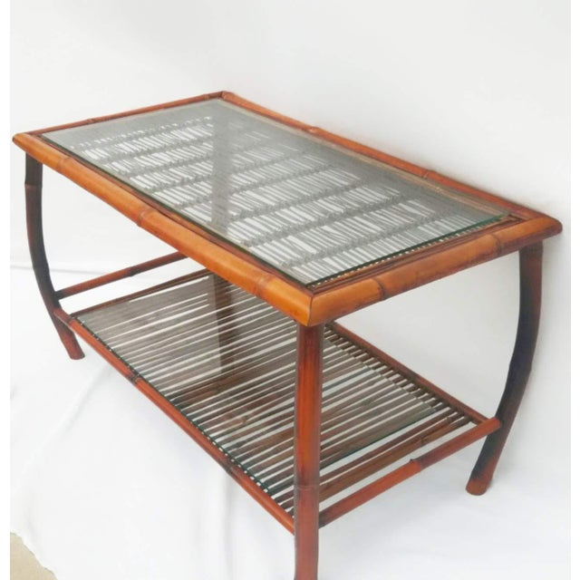 Brown Hollywood Regency Bamboo and Rattan Coffee Table For Sale - Image 8 of 8