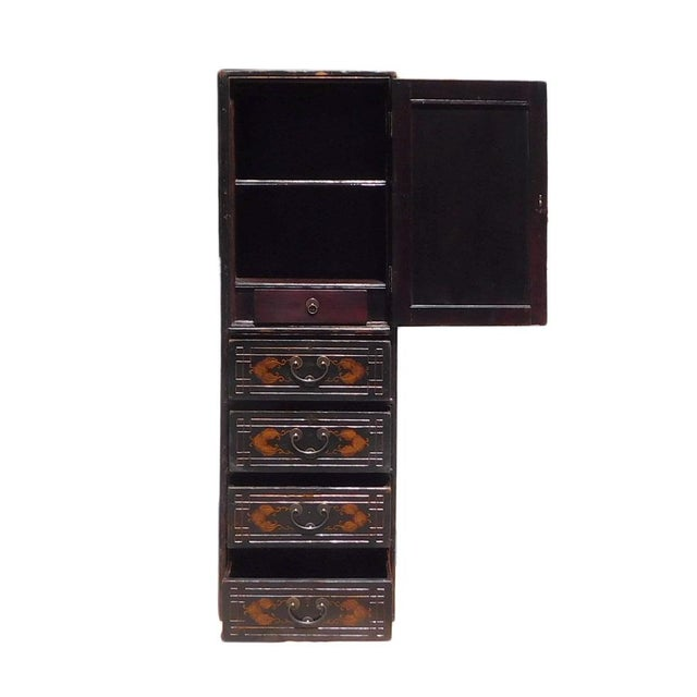 1960s Chinese Vintage Golden Graphic Dresser Cabinet For Sale - Image 5 of 8