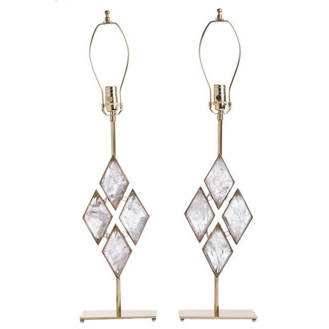 Rock Crystal and Brass Diamond Lamps - a Pair For Sale In New York - Image 6 of 6