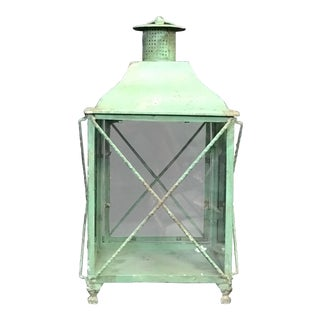 Verdi Gris Glass Panel Tabletop Candle Holder Lantern For Sale