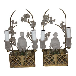French Hollywood Regency Period Maison Bagues Dore W/ Frosted Crystal Chinoiserie Figures With Cherry Blossoms Sconces - a Pair For Sale