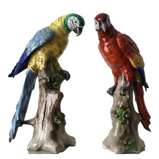German Porcelain Parrots Macaw Africa Art Deco Dresden Style - a Pair For Sale
