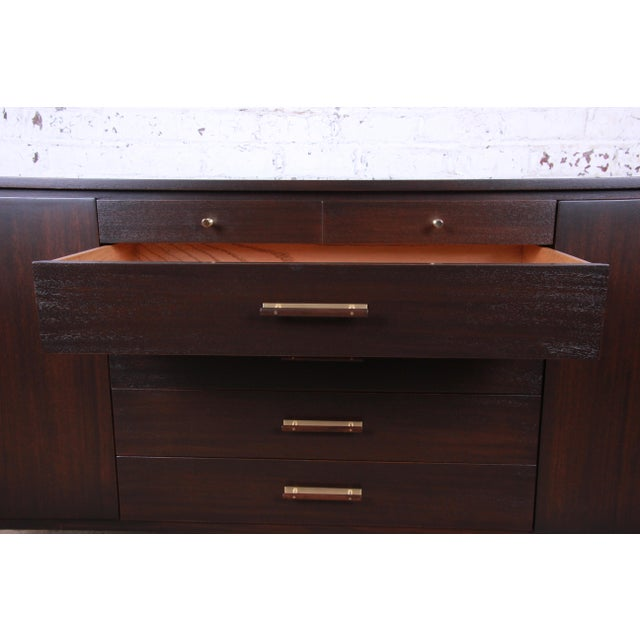 Gold Paul McCobb for Calvin Mahogany and Brass Sideboard Credenza For Sale - Image 8 of 13