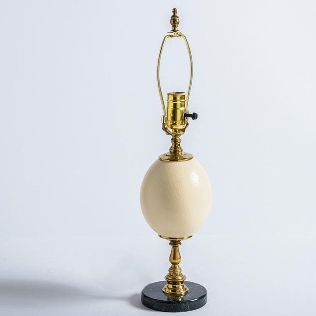 Antique French Ostrich Egg Table Lamps With Brass & Marble Base, A-Pair For Sale In West Palm - Image 6 of 13
