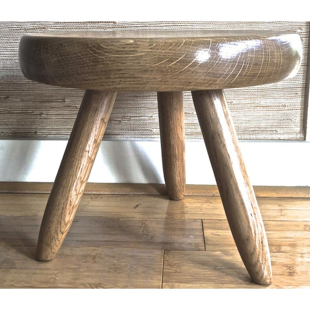 Charlotte Perriand genuine vintage ash tree tripod low stool.