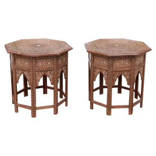 20th Century Moroccan Style Intricately Inlaid Solid Teak Wood Side Tables - a Pair For Sale