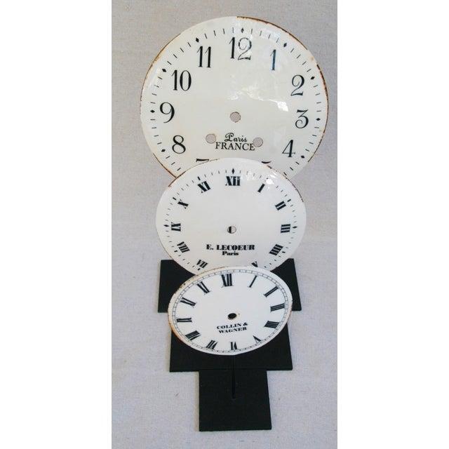 Porcelain & Metal Clock Faces on Stands - Set of 3 For Sale - Image 9 of 10