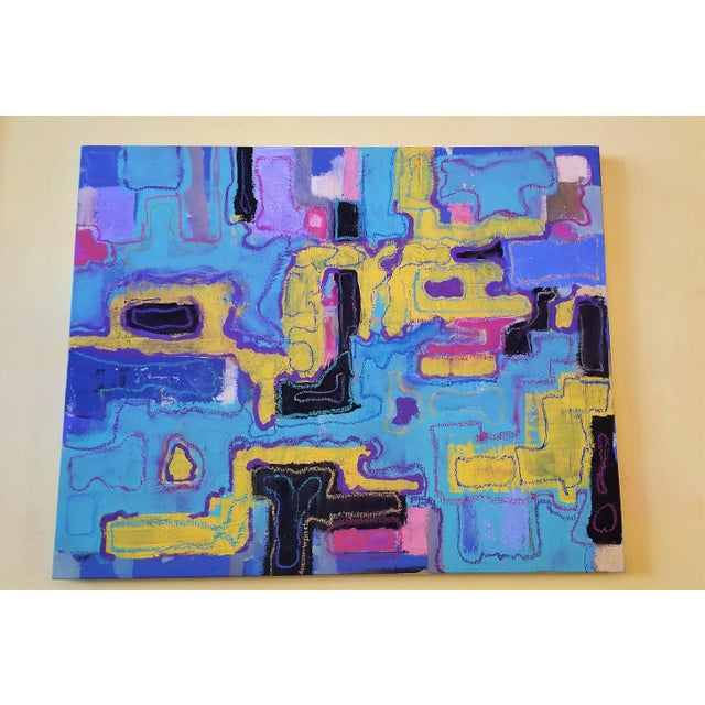 Mid-Century Modern R. Schnider Electric Abstract Microchip Painting For Sale - Image 3 of 6