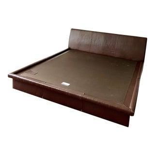 Room & Board Merrick Leather Platform King Bedframe For Sale