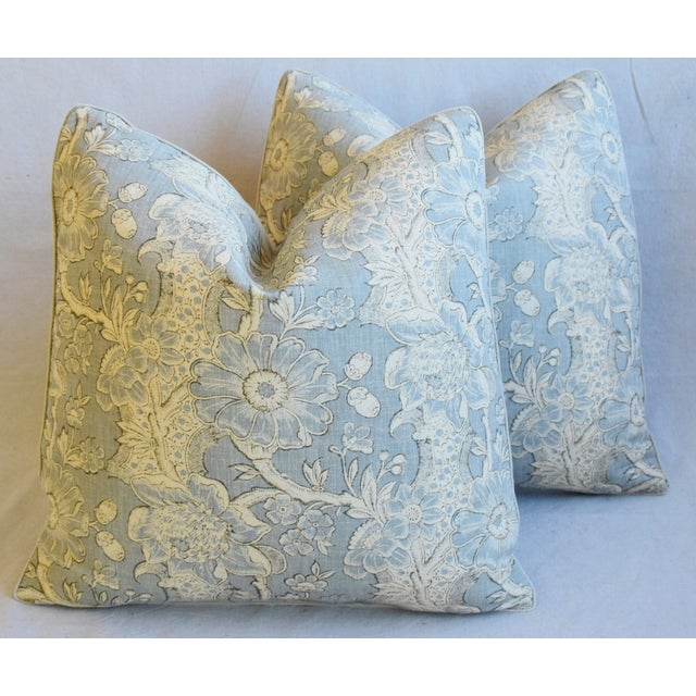 "Designer Hodsoll Camellia/Acorn Linen Feather/Down Pillows 21"" Square - Pair For Sale - Image 13 of 13"