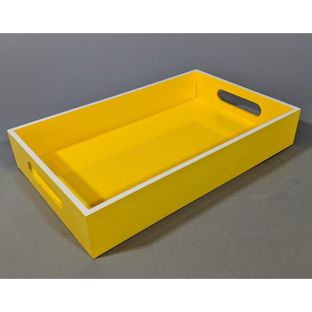 Yellow and White Lacquered Tray For Sale - Image 10 of 10