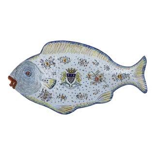 1860s Mont Saint-Michel Faience Fish Serving Plate For Sale