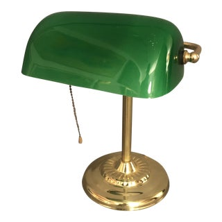 Vintage Brass Desk Lamp With Green Glass For Sale