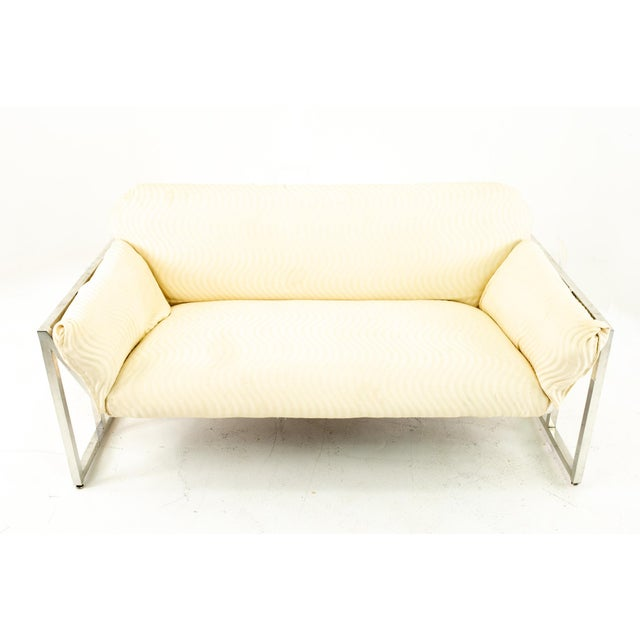 Milo Baughman Style Mid Century Floating Chrome Setee For Sale In Chicago - Image 6 of 10