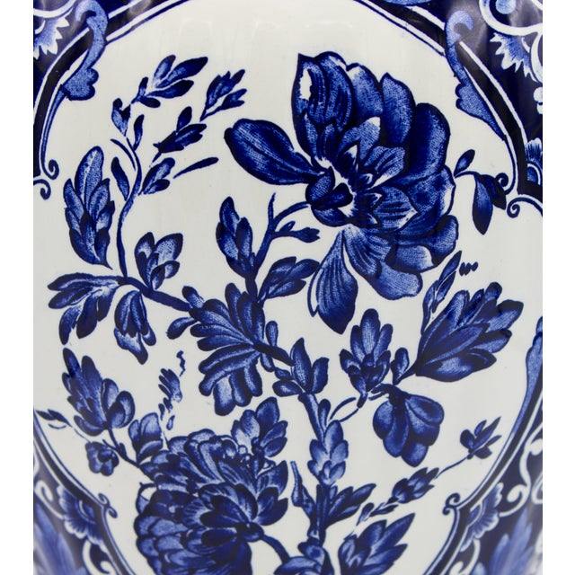 Royal Blue Extra Large Mid-20th Century Dutch Blue and White Royal Maastricht Delft Ginger Jar For Sale - Image 8 of 13