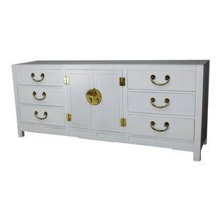 Lacquer Brass Hardware Mid-Century Modern Long Credenza Dresser Nine Drawers