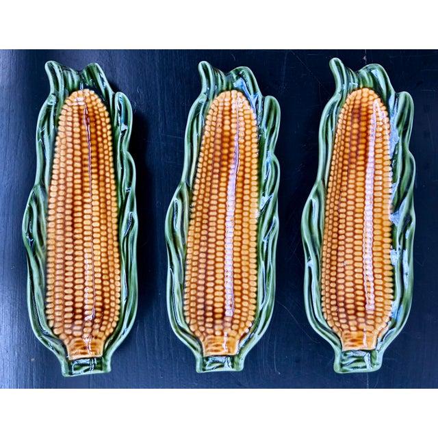 Majolica Glazed Corn Ceramics- Set of 3 For Sale - Image 5 of 6