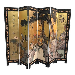 Chinese Gold Gilt Folding Screen Room Divider For Sale