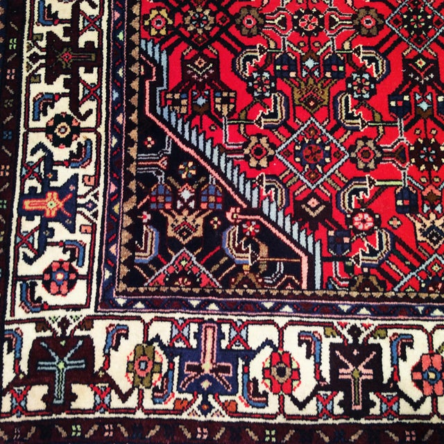 1950s Persian Handmade Village Carpet Rug 4′3″ × 6′11″ For Sale In Chicago - Image 6 of 13