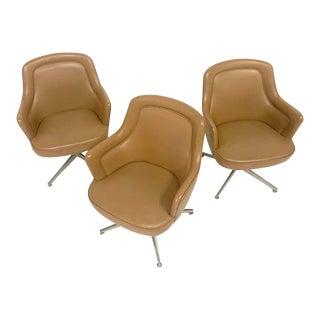 Sleek Ward Bennett for Lehigh Naugahyde Barrel Back Desk Chairs (Two Available) For Sale