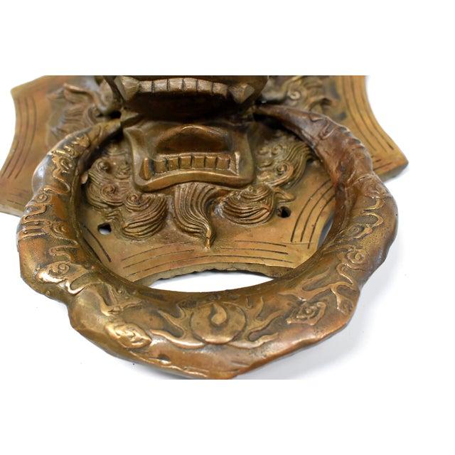Vintage Medium Asian Dragon Door Knockers- a Pair For Sale In Los Angeles - Image 6 of 13
