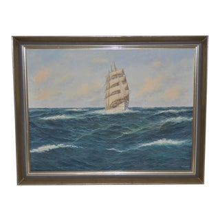 Maritime Clipper Ship Oil Painting by E. Osswald C.1940s For Sale