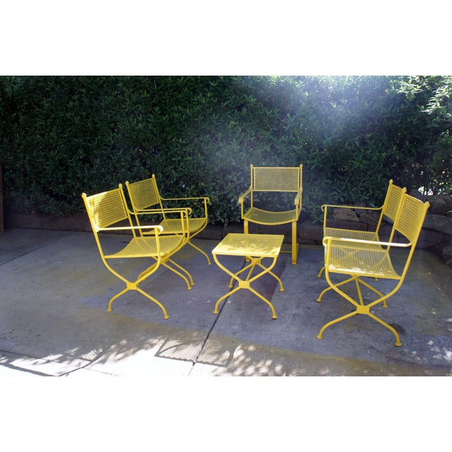 Vintage Mid Century Buttercup Yellow French Directoire Style Wrought Iron Patio Set- 5 Pieces For Sale - Image 13 of 13
