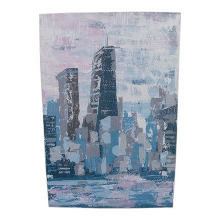 2000s Abstract Hancock Tower Chicago Painting For Sale