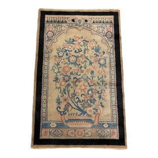 """1920s Art Deco Chinese Wool Floral Rug-3'1'x4'12"""" For Sale"""