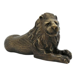 Vintage Bronze Lion Figurine For Sale
